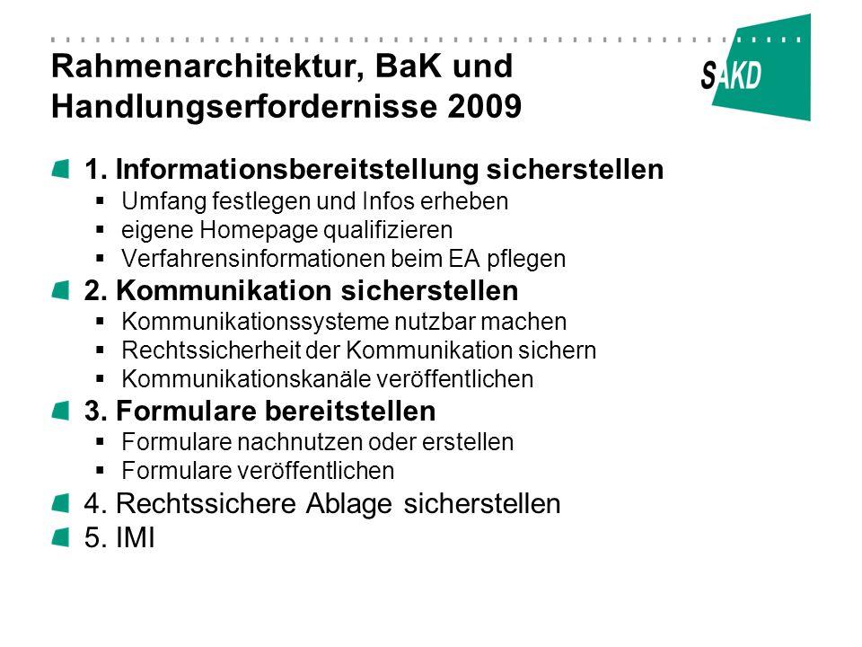 Rahmenarchitektur, BaK und Handlungserfordernisse 2009 1. Informationsbereitstellung sicherstellen Umfang festlegen und Infos erheben eigene Homepage
