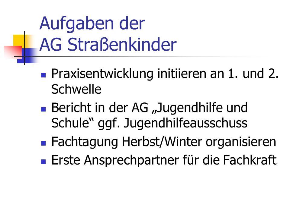 Aufgaben der AG Straßenkinder Praxisentwicklung initiieren an 1.