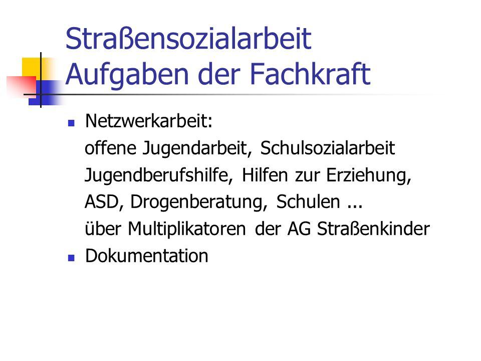 Straßensozialarbeit Aufgaben der Fachkraft Netzwerkarbeit: offene Jugendarbeit, Schulsozialarbeit Jugendberufshilfe, Hilfen zur Erziehung, ASD, Drogenberatung, Schulen...