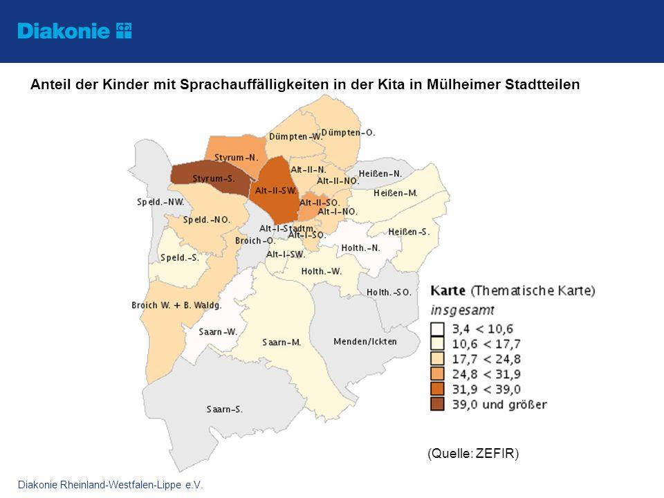 Diakonie Rheinland-Westfalen-Lippe e.V. Anteil der Kinder mit Sprachauffälligkeiten in der Kita in Mülheimer Stadtteilen (Quelle: ZEFIR)