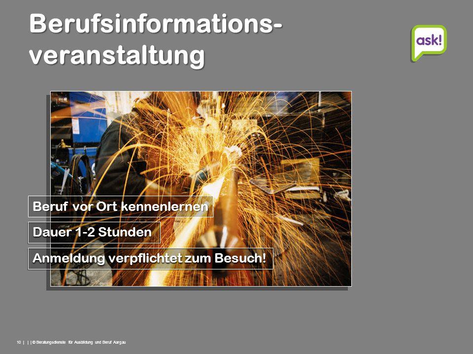 10 | | | © Beratungsdienste für Ausbildung und Beruf Aargau Berufsinformations- veranstaltung Anmeldung verpflichtet zum Besuch! Dauer 1-2 Stunden Ber