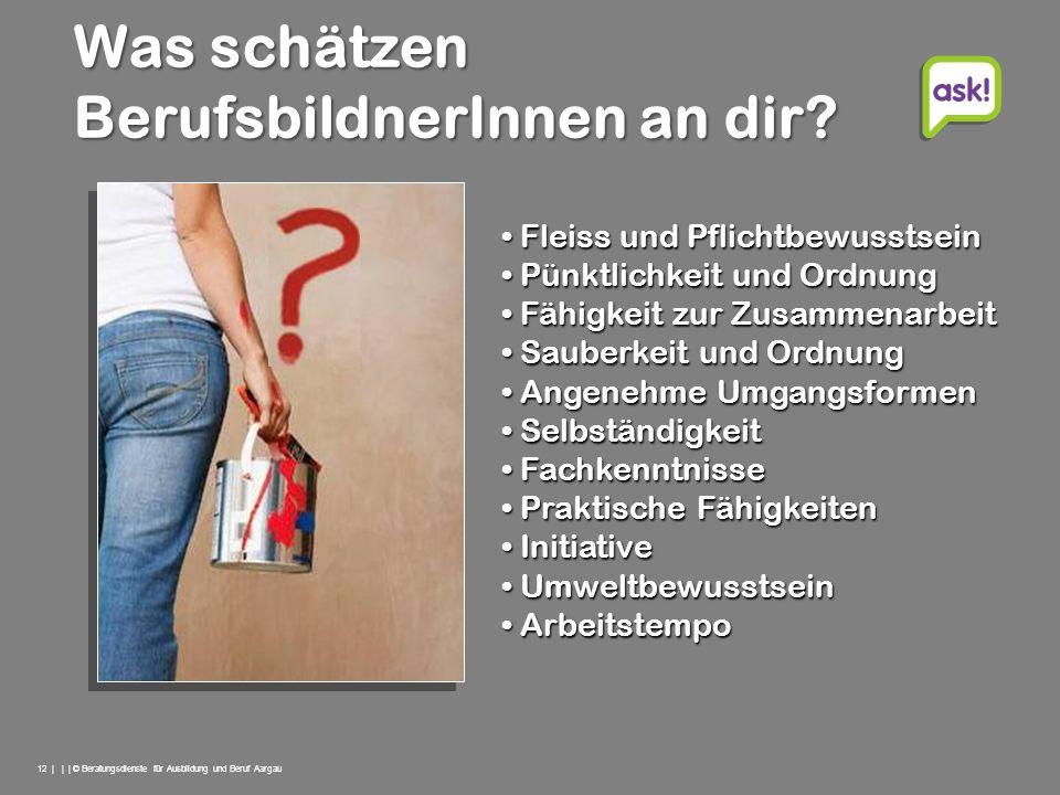 12 | | | © Beratungsdienste für Ausbildung und Beruf Aargau Fleiss und Pflichtbewusstsein Fleiss und Pflichtbewusstsein Pünktlichkeit und Ordnung Pünk