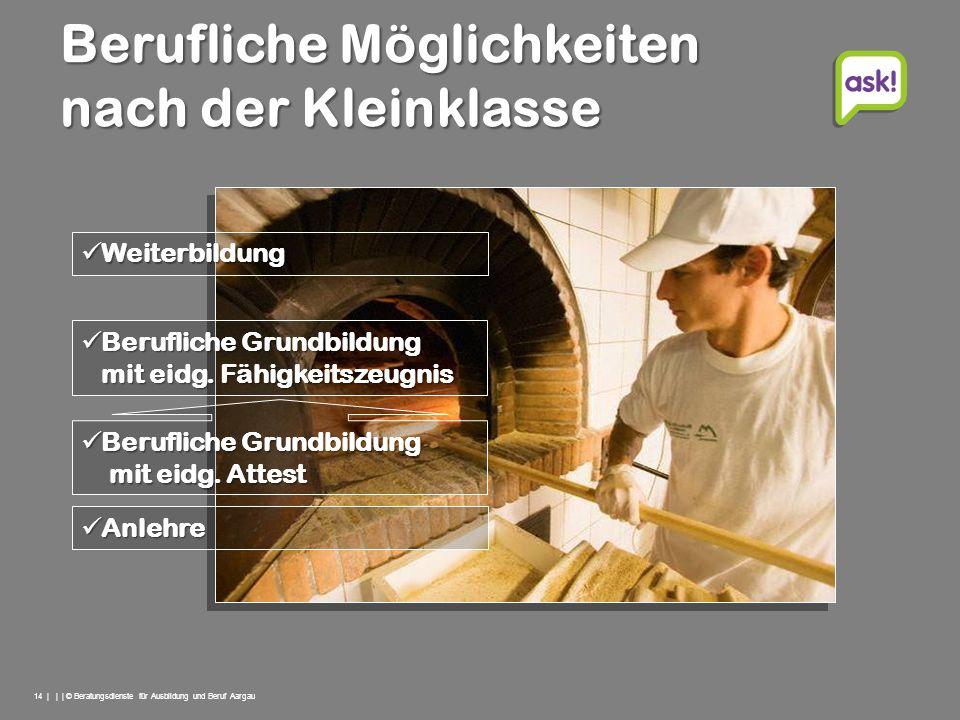14 | | | © Beratungsdienste für Ausbildung und Beruf Aargau Berufliche Möglichkeiten nach der Kleinklasse Berufliche Grundbildung Berufliche Grundbild