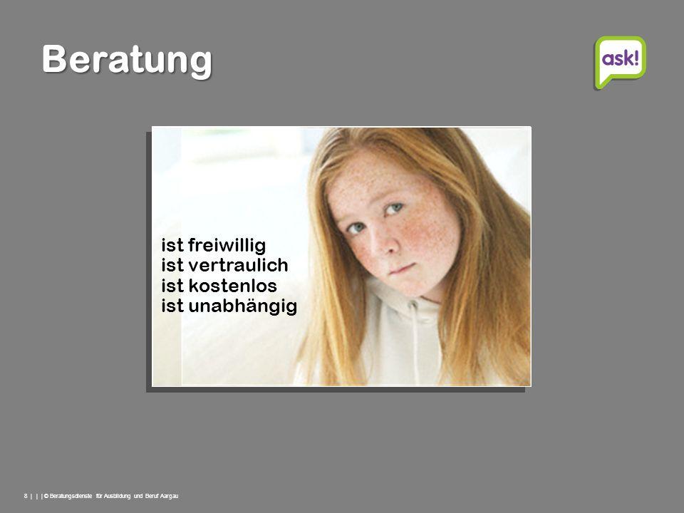 8 | | | © Beratungsdienste für Ausbildung und Beruf Aargau Beratung ist freiwillig ist unabhängig ist vertraulich ist kostenlos