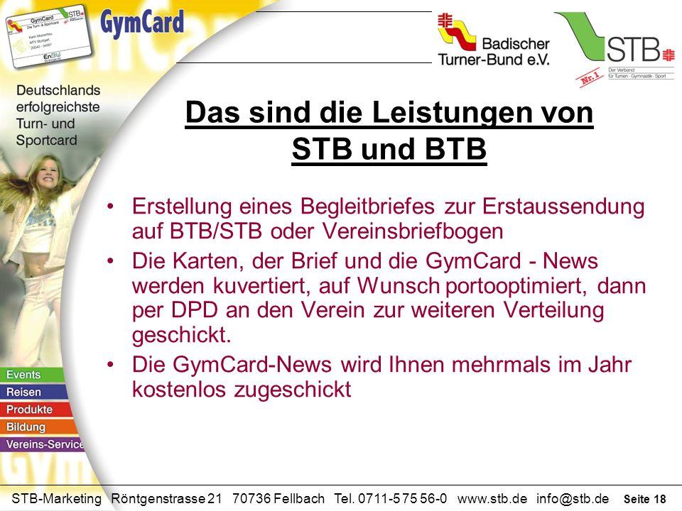 Seite 17 STB-Marketing Röntgenstrasse 21 70736 Fellbach Tel. 0711-5 75 56-0 www.stb.de info@stb.de Telefon Hotline Adressenerfassung und Pflege Aktuel