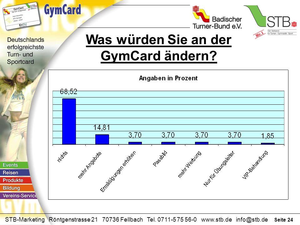 Seite 23 STB-Marketing Röntgenstrasse 21 70736 Fellbach Tel. 0711-5 75 56-0 www.stb.de info@stb.de Ihre Meinung zur GymCard? AnzahlProzent nützlich238