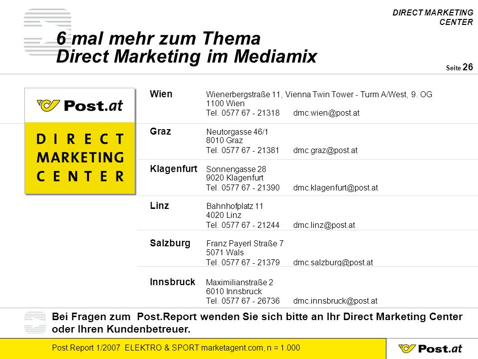 DIRECT MARKETING CENTER Post.Report 1/2007 ELEKTRO & SPORT marketagent.com, n = Seite 26 6 mal mehr zum Thema Direct Marketing im Mediamix Wien Wienerbergstraße 11, Vienna Twin Tower - Turm A/West, 9.