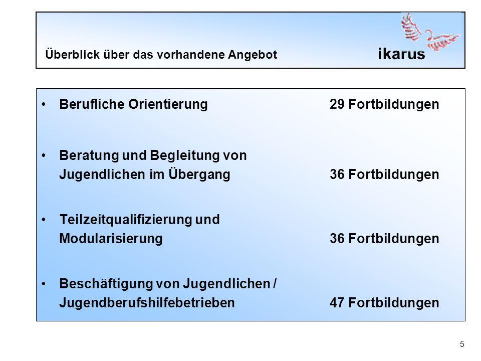 ikarus 6 Überblick über das vorhandene Angebot Handlungskonzepte für den Sozialraum und vernetzte Arbeitsformen 6 Fortbildungen Geschlechterdifferenziertes Arbeiten11 Fortbildungen Arbeiten mit Migrant/-innen6 Fortbildungen