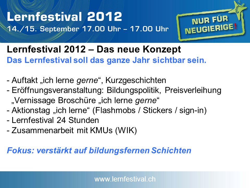 www.lernfestival.ch Lernfestival 2012 – Das neue Konzept Das Lernfestival soll das ganze Jahr sichtbar sein.