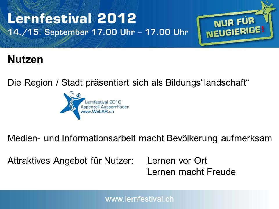 www.lernfestival.ch Nutzen Die Region / Stadt präsentiert sich als Bildungslandschaft Medien- und Informationsarbeit macht Bevölkerung aufmerksam Attraktives Angebot für Nutzer:Lernen vor Ort Lernen macht Freude