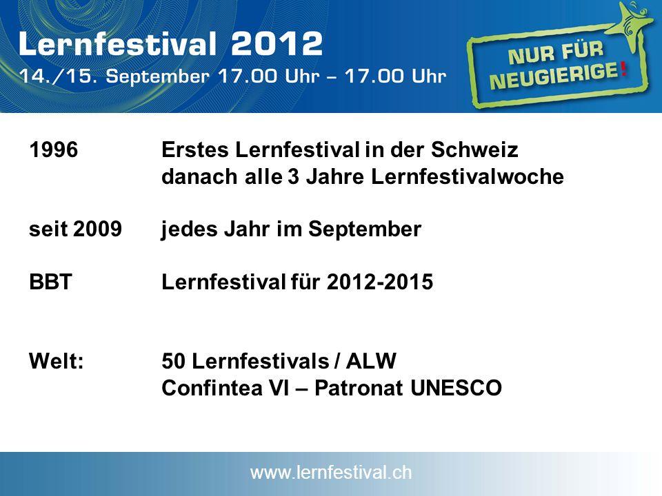www.lernfestival.ch 1996Erstes Lernfestival in der Schweiz danach alle 3 Jahre Lernfestivalwoche seit 2009jedes Jahr im September BBTLernfestival für 2012-2015 Welt: 50 Lernfestivals / ALW Confintea VI – Patronat UNESCO
