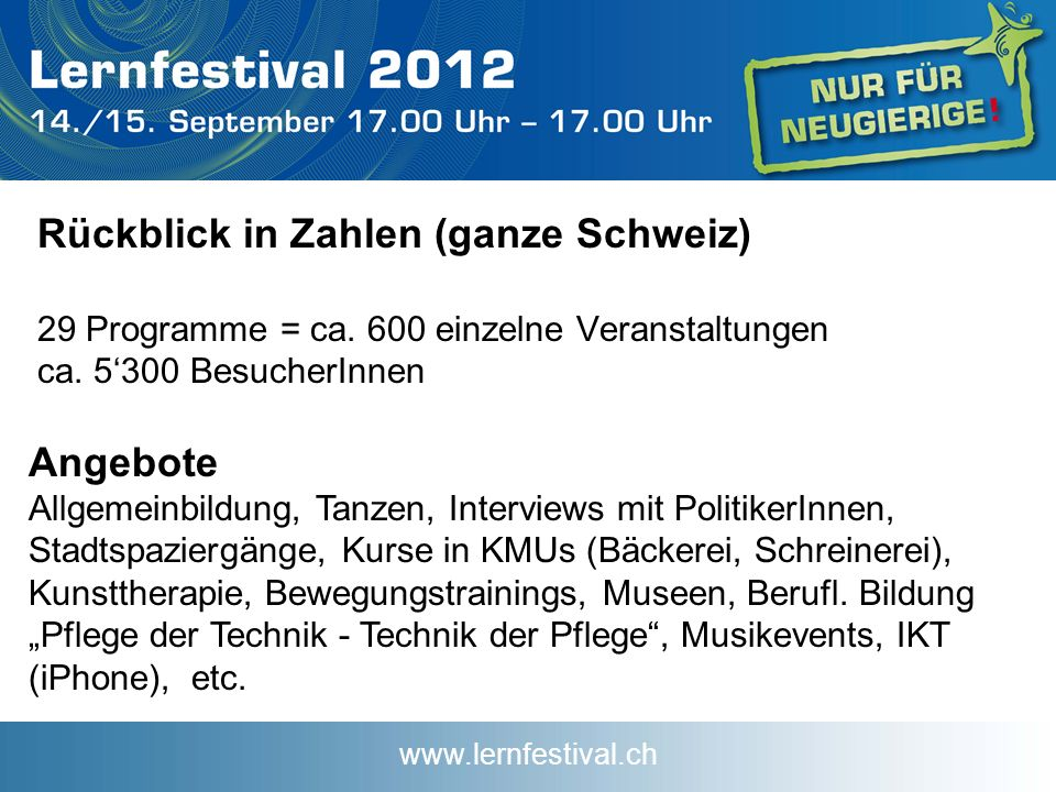 www.lernfestival.ch Rückblick in Zahlen (ganze Schweiz) 29 Programme = ca.