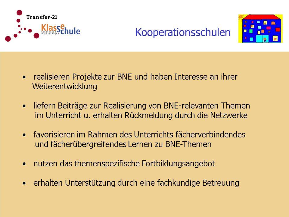Kooperationsschulen realisieren Projekte zur BNE und haben Interesse an ihrer Weiterentwicklung liefern Beiträge zur Realisierung von BNE-relevanten Themen im Unterricht u.