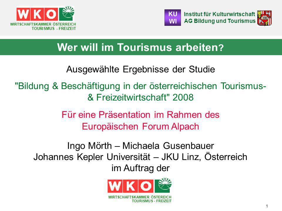 Institut für Kulturwirtschaft AG Bildung und Tourismus WIRTSCHAFTSKAMMER ÖSTERREICH TOURISMUS - FREIZEIT 32 Gründe Für einen Branchenausstieg (M/A) Gründe für einen Branchenausstieg/ Branchenwechsel OÖTirolWien Problematische Arbeitszeiten 52,6 (1)34,8 (2)27,9 (4) Wunsch nach persönlicher Veränderung 50,3 (2)39,1 (1)44,3 (1) Fehlende Vereinbarkeit Familie bzw.