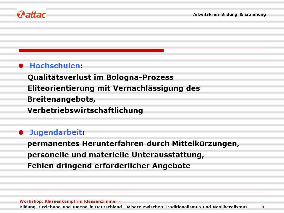 Workshop: Klassenkampf im Klassenzimmer - Bildung, Erziehung und Jugend in Deutschland - Misere zwischen Traditionalismus und Neoliberalismus 9 Hochsc