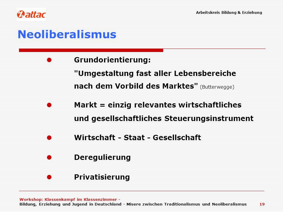 Workshop: Klassenkampf im Klassenzimmer - Bildung, Erziehung und Jugend in Deutschland - Misere zwischen Traditionalismus und Neoliberalismus 19 Neoli