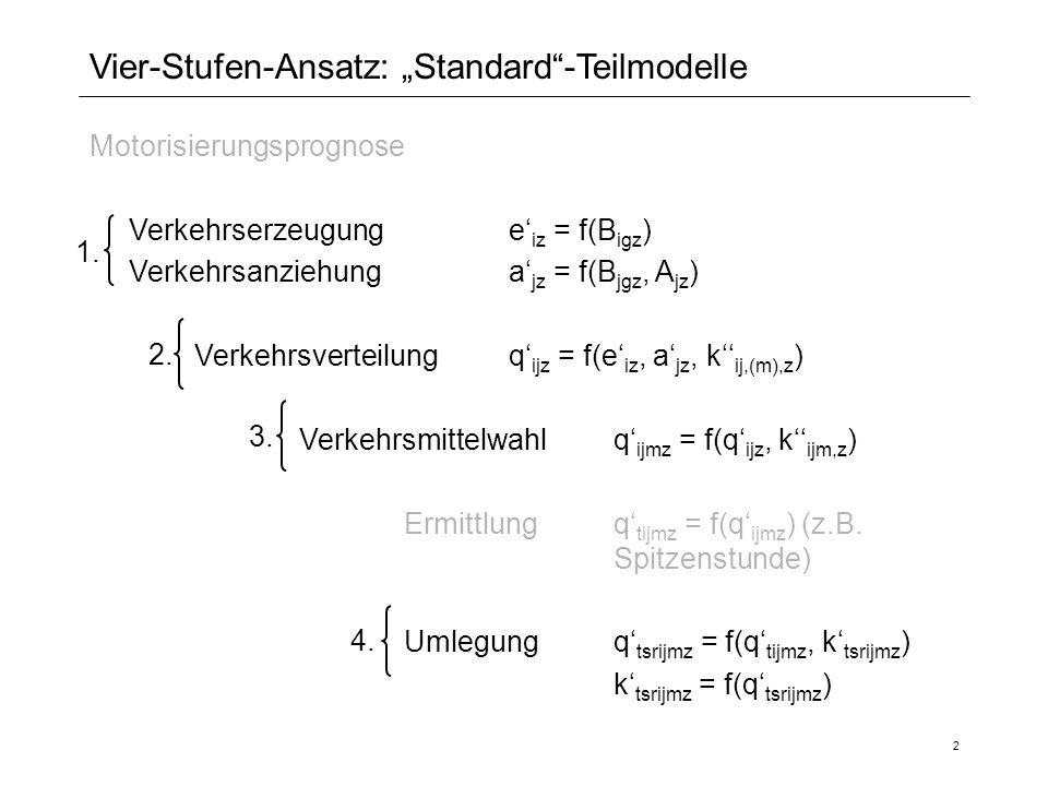 2 Vier-Stufen-Ansatz: Standard-Teilmodelle Motorisierungsprognose Verkehrserzeugunge iz = f(B igz ) Verkehrsanziehunga jz = f(B jgz, A jz ) Verkehrsve