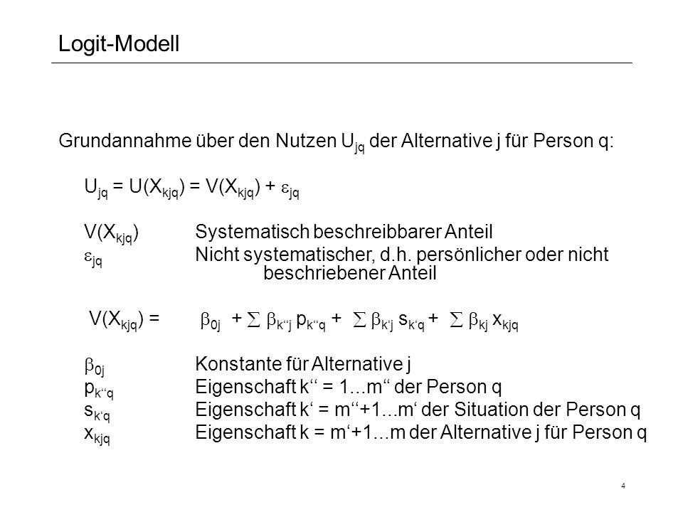 4 Logit-Modell Grundannahme über den Nutzen U jq der Alternative j für Person q: U jq = U(X kjq ) = V(X kjq ) + jq V(X kjq )Systematisch beschreibbare