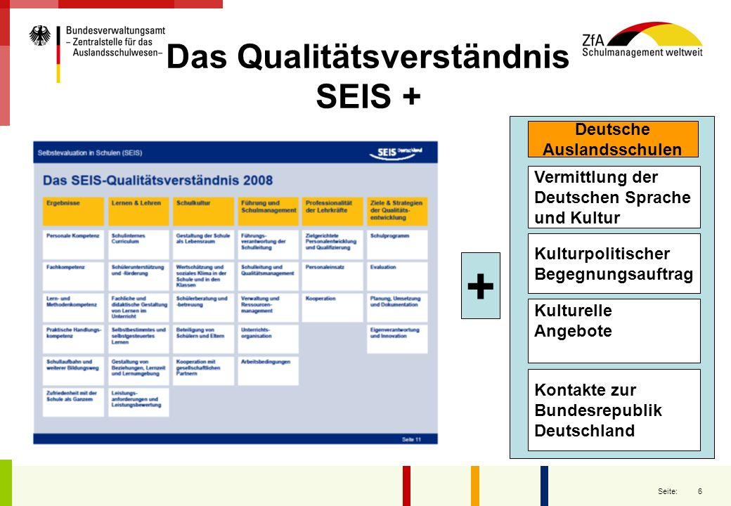 6 Seite: Das Qualitätsverständnis SEIS + Deutsche Auslandsschulen Kontakte zur Bundesrepublik Deutschland Vermittlung der Deutschen Sprache und Kultur
