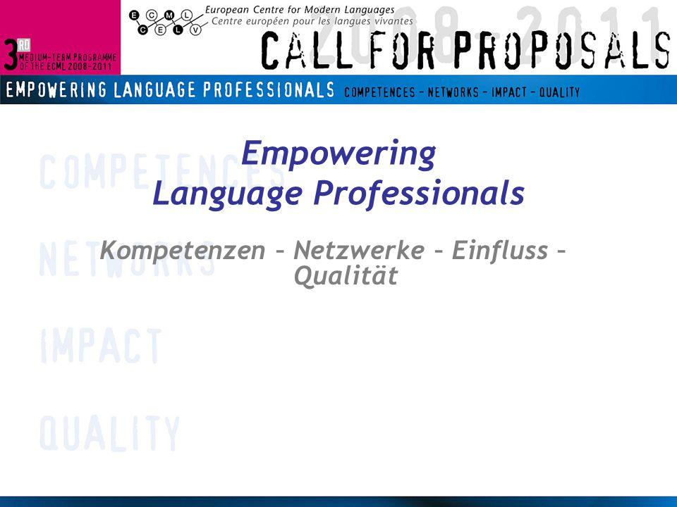 Themenbereiche AEvaluation BKontinuität beim Sprachenlernen CInhalt und Sprachausbildung DMehrsprachigkeit und kulturelle Vielfalt Relevanz für Qualität im Fremdsprachenunterricht Zentrale Arbeitsbereiche in Mitgliedsstaaten und von ExpertInnen Schwerpunkt Methodologie Europäische Dimension Komplementär zu EU- Themen, andere Schwerpunktsetzung
