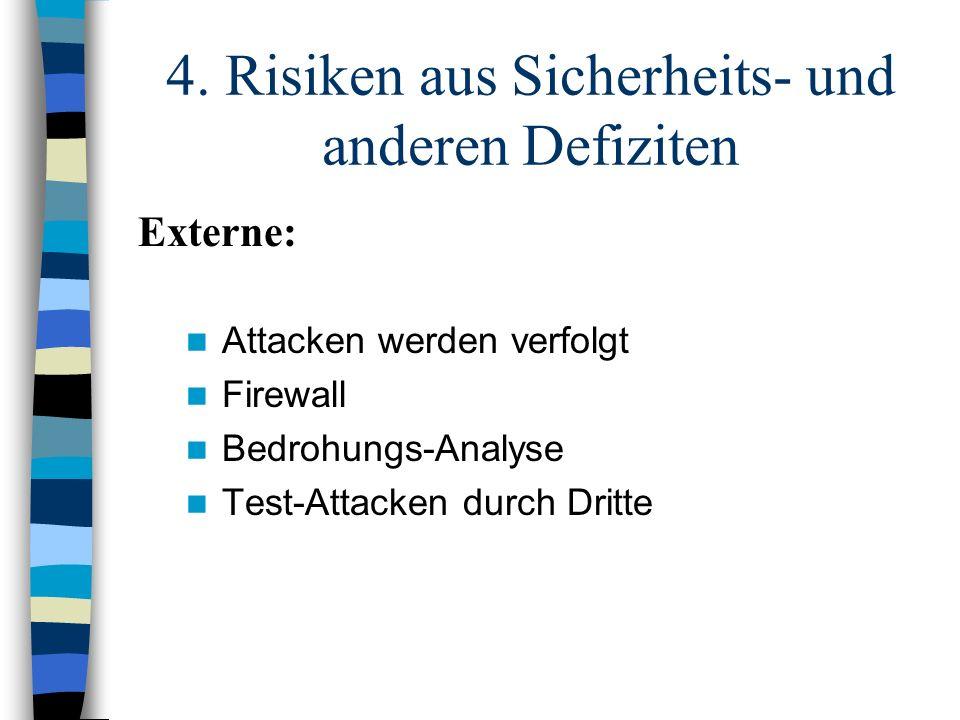 4. Risiken aus Sicherheits- und anderen Defiziten Attacken werden verfolgt Firewall Bedrohungs-Analyse Test-Attacken durch Dritte Externe:
