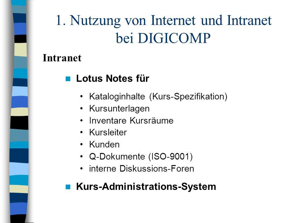 1. Nutzung von Internet und Intranet bei DIGICOMP Lotus Notes für Kataloginhalte (Kurs-Spezifikation) Kursunterlagen Inventare Kursräume Kursleiter Ku