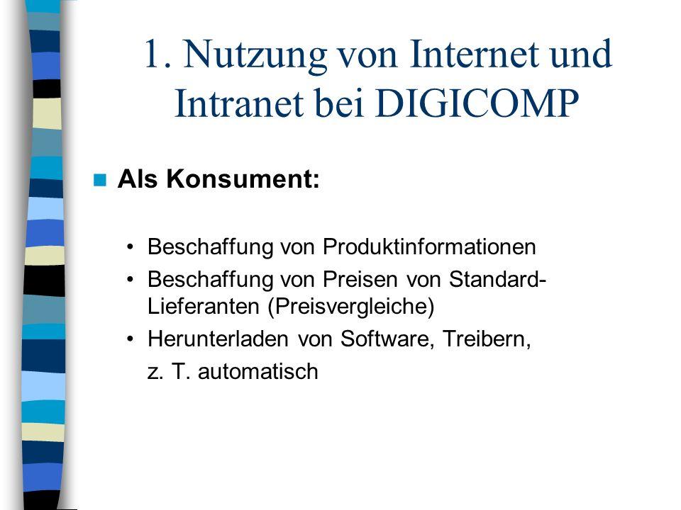 1. Nutzung von Internet und Intranet bei DIGICOMP Als Konsument: Beschaffung von Produktinformationen Beschaffung von Preisen von Standard- Lieferante
