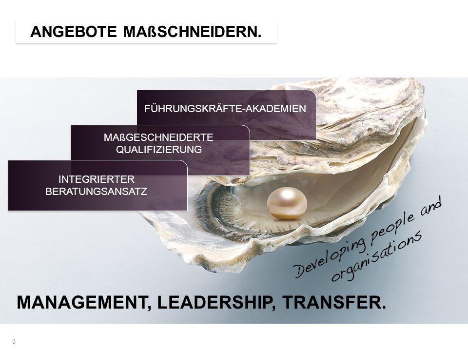 8 ANGEBOTE MAßSCHNEIDERN. MANAGEMENT, LEADERSHIP, TRANSFER. FÜHRUNGSKRÄFTE-AKADEMIEN MAßGESCHNEIDERTE QUALIFIZIERUNG INTEGRIERTER BERATUNGSANSATZ