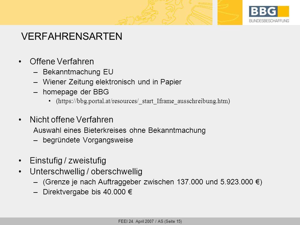 FEEI 24. April 2007 / AS (Seite 15) VERFAHRENSARTEN Offene Verfahren –Bekanntmachung EU –Wiener Zeitung elektronisch und in Papier –homepage der BBG (
