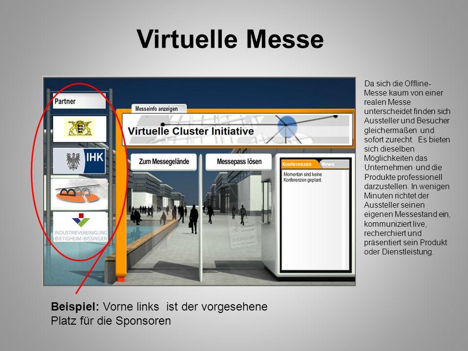 Virtuelle Messe Da sich die Offline- Messe kaum von einer realen Messe unterscheidet finden sich Aussteller und Besucher gleichermaßen und sofort zure