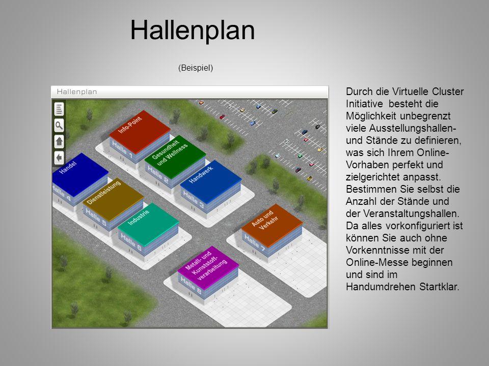 Hallenplan (Beispiel) Durch die Virtuelle Cluster Initiative besteht die Möglichkeit unbegrenzt viele Ausstellungshallen- und Stände zu definieren, wa