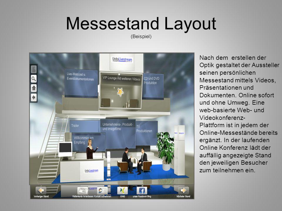 Messestand Layout (Beispiel) Nach dem erstellen der Optik gestaltet der Aussteller seinen persönlichen Messestand mittels Videos, Präsentationen und D