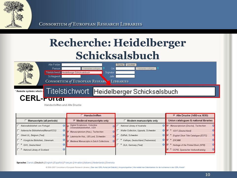 10 Recherche: Heidelberger Schicksalsbuch