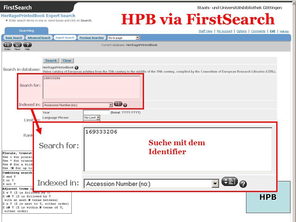 21 HPB HPB via FirstSearch Suche mit dem Identifier
