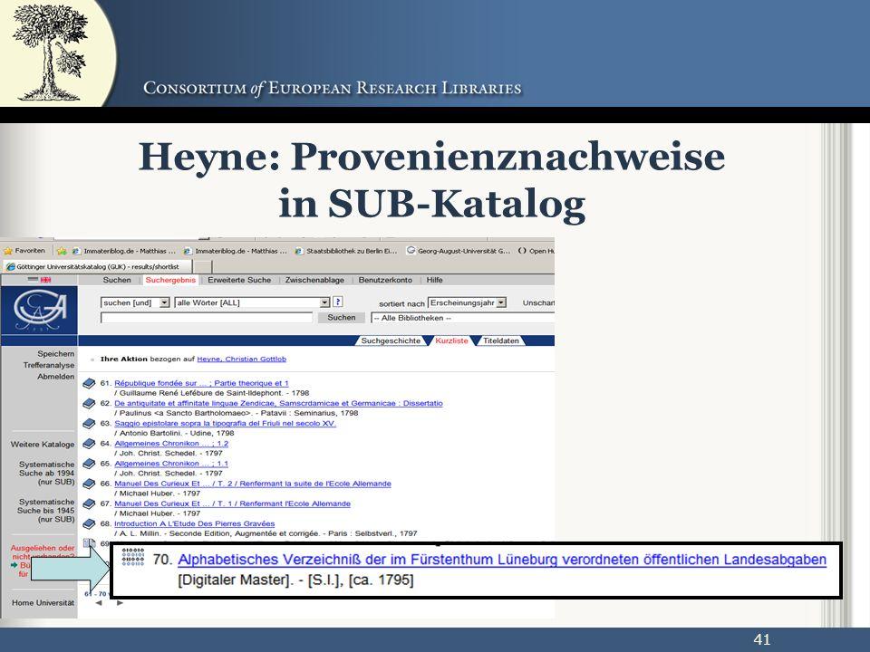 41 Heyne: Provenienznachweise in SUB-Katalog