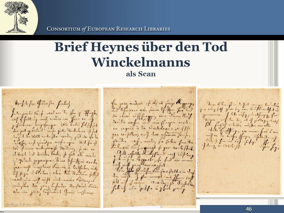 46 Brief Heynes über den Tod Winckelmanns als Scan
