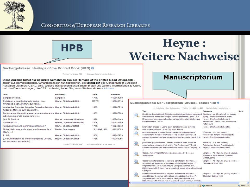 48 Heyne : Weitere Nachweise HPB Manuscriptorium