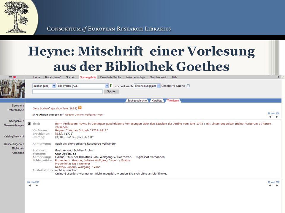 49 Heyne: Mitschrift einer Vorlesung aus der Bibliothek Goethes