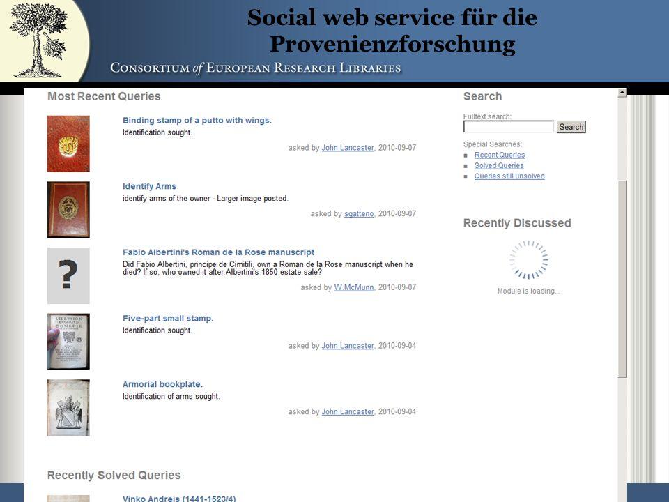 52 Social web service für die Provenienzforschung