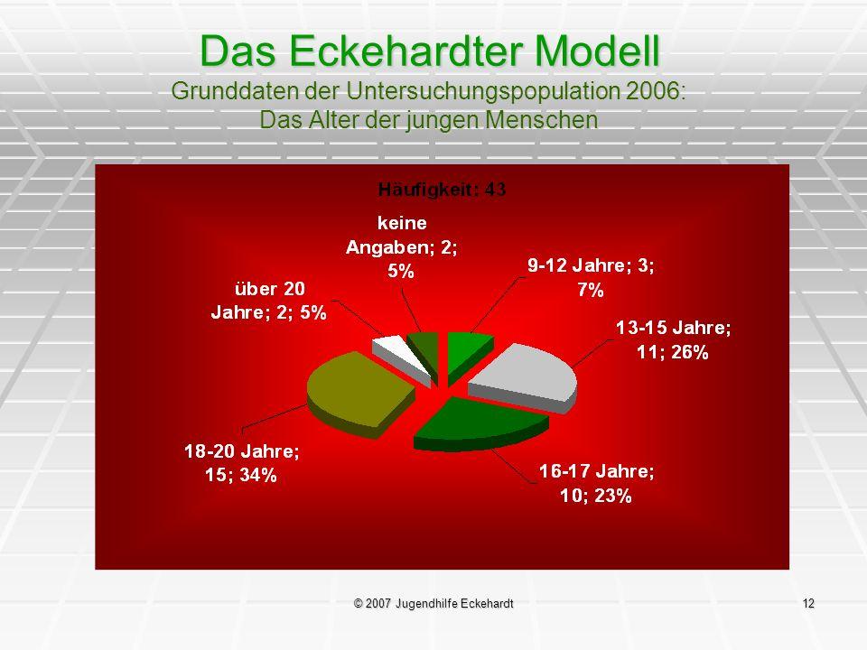 © 2007 Jugendhilfe Eckehardt12 Das Eckehardter Modell Grunddaten der Untersuchungspopulation 2006: Das Alter der jungen Menschen
