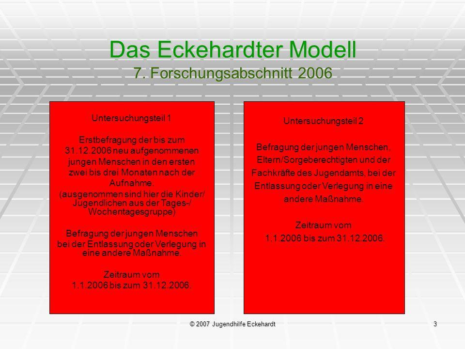 © 2007 Jugendhilfe Eckehardt3 Das Eckehardter Modell 7. Forschungsabschnitt 2006 Untersuchungsteil 1 Erstbefragung der bis zum 31.12.2006 neu aufgenom
