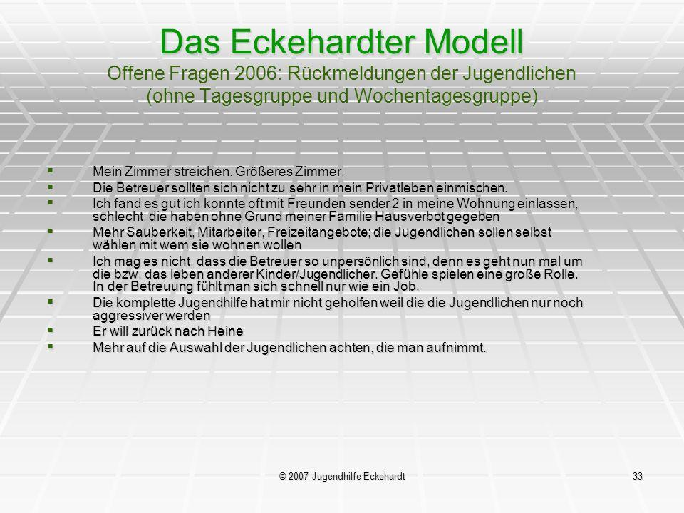 © 2007 Jugendhilfe Eckehardt33 Das Eckehardter Modell Offene Fragen 2006: Rückmeldungen der Jugendlichen (ohne Tagesgruppe und Wochentagesgruppe) Mein