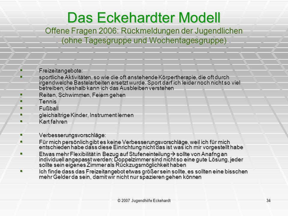 © 2007 Jugendhilfe Eckehardt34 Das Eckehardter Modell Offene Fragen 2006: Rückmeldungen der Jugendlichen (ohne Tagesgruppe und Wochentagesgruppe) Frei