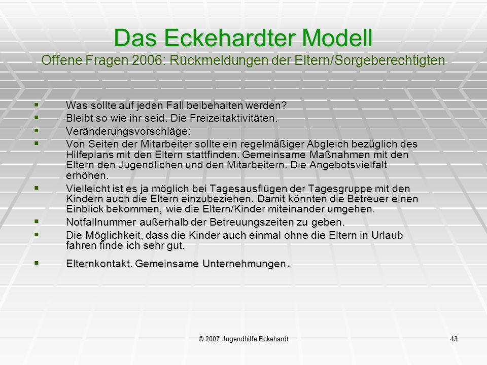 © 2007 Jugendhilfe Eckehardt43 Das Eckehardter Modell Offene Fragen 2006: Rückmeldungen der Eltern/Sorgeberechtigten Was sollte auf jeden Fall beibeha