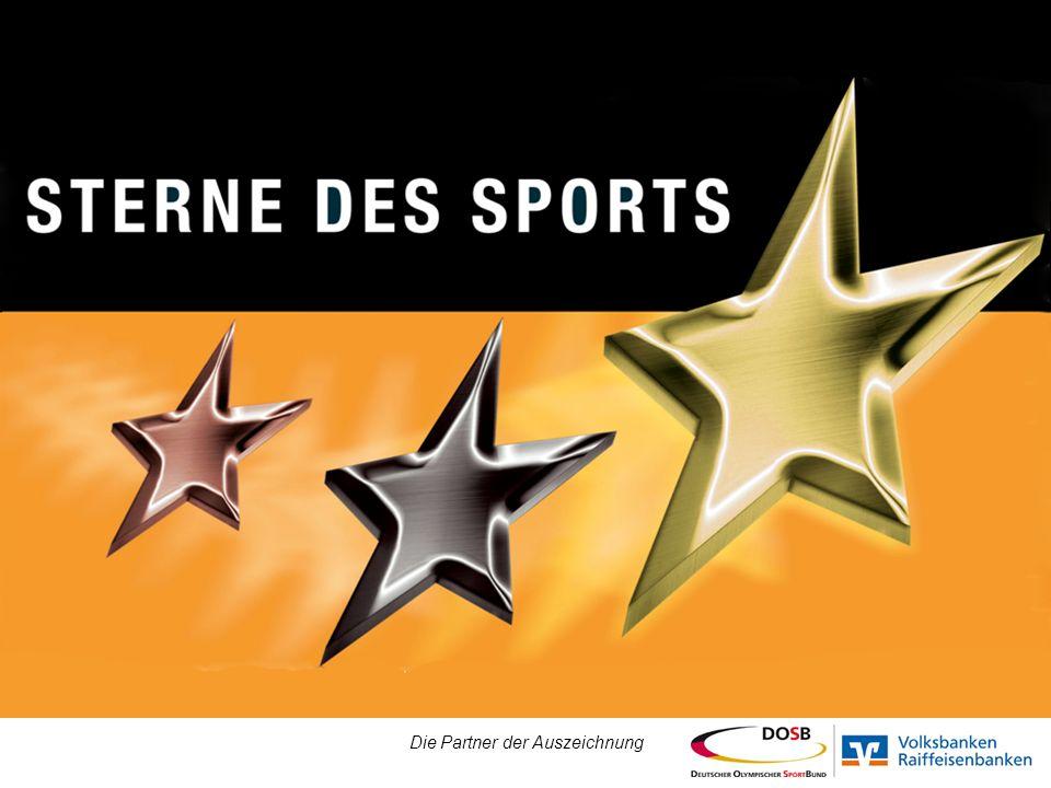 Die Sterne des Sports Die Auszeichnung für Sportvereine der Volksbanken und Raiffeisenbanken in Zusammenarbeit mit dem Deutschen Olympischen Sportbund (DOSB) Belohnt werden das soziale Engagement in gesellschaftlich relevanten Schwerpunktthemen Nächste Ausschreibung ab Frühjahr 2012 bei Ihren Volksbanken Raiffeisenbanken Die Partner der Auszeichnung