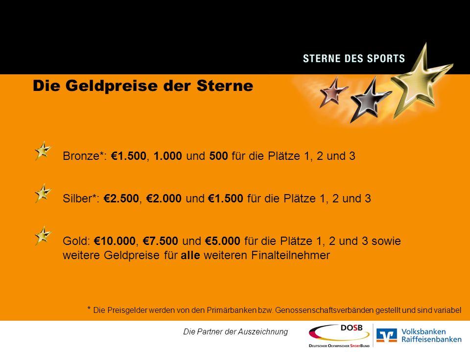 Die Geldpreise der Sterne Bronze*: 1.500, 1.000 und 500 für die Plätze 1, 2 und 3 Silber*: 2.500, 2.000 und 1.500 für die Plätze 1, 2 und 3 Gold: 10.000, 7.500 und 5.000 für die Plätze 1, 2 und 3 sowie weitere Geldpreise für alle weiteren Finalteilnehmer Die Partner der Auszeichnung * Die Preisgelder werden von den Primärbanken bzw.
