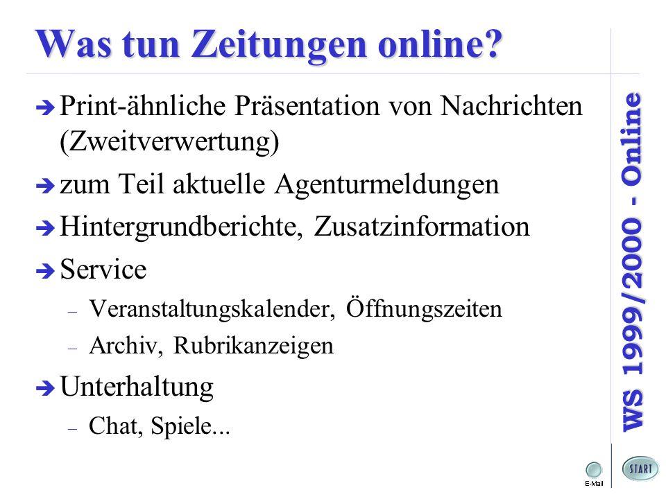 WS 1999/2000 - Online Was tun Zeitungen online? Print-ähnliche Präsentation von Nachrichten (Zweitverwertung) zum Teil aktuelle Agenturmeldungen Hinte