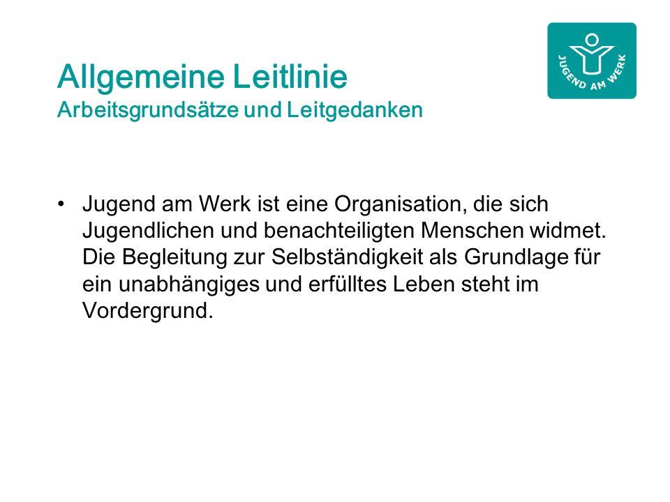 Allgemeine Leitlinie Arbeitsgrundsätze und Leitgedanken Jugend am Werk ist eine Organisation, die sich Jugendlichen und benachteiligten Menschen widmet.
