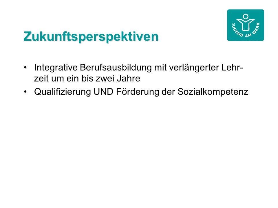 Zukunftsperspektiven Integrative Berufsausbildung mit verlängerter Lehr- zeit um ein bis zwei Jahre Qualifizierung UND Förderung der Sozialkompetenz
