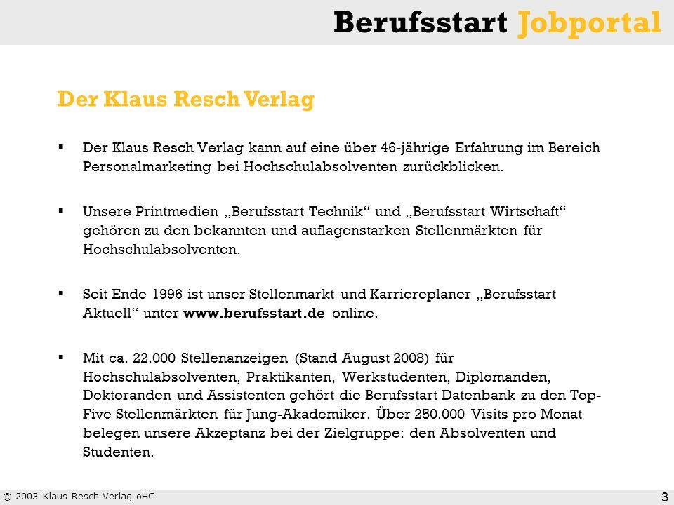 © 2003 Klaus Resch Verlag oHG Berufsstart Jobportal 3 Der Klaus Resch Verlag kann auf eine über 46-jährige Erfahrung im Bereich Personalmarketing bei